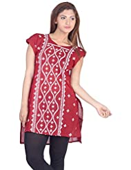 Aabarani Women's Hand Work Semi Stitched Cotton Kurta (ABKU014,Maroon)