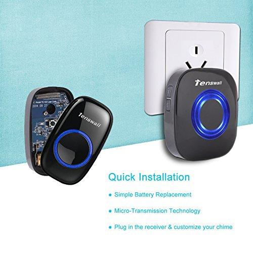 best wireless doorbell tenswall portable door bell kit. Black Bedroom Furniture Sets. Home Design Ideas