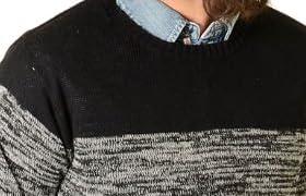(Clack) メンズ ニット / ニットソー グラデーション バイカラー 長袖 セーター 杢 ローゲージ ブラック S M L LL 3L FREE
