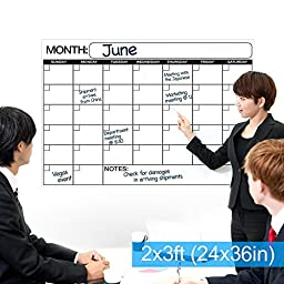 Best EXTRA LARGE Dry Erase Wall Calendar Planner & Organizer 24\