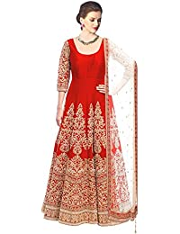 Clickedia Women's Bhagalpuri Red Embroidered Semi Stitched Anarkali - Dress Material