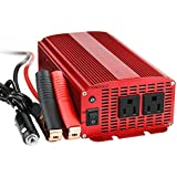 BESTEK 2 AC Outlets 1000W Power Inverter with Battery Clamps and Car Cigarette Lighter Plug