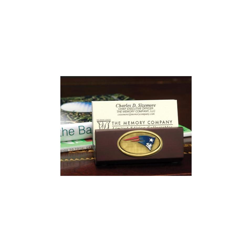 NEW ENGLAND PATRIOTS Team Logo Medallion BUSINESS CARD HOLDER (3.5 Wide x 1.75 Tall)