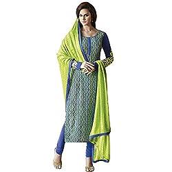 Jinaam Dress Women's Printed Bhagalpuri Salwar Suit Dupatta Material (NKRRC6466BMPN_Blue, Green_Free Size)