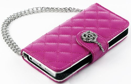 Mylife (Tm) Pink Rose Diamond Design - Textured Koskin Faux Leather (Card And Id Holder + Magnetic Detachable Closing) Slim Wallet For Iphone 5/5S (5G) 5Th Generation Itouch Smartphone By Apple (External Rugged Synthetic Leather With Magnetic Clip + Inter
