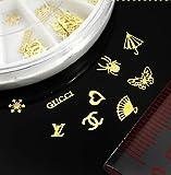 TOOGOO(R) 60pcs 12 Hollow Style DIY Gold Metal Sticker slices Charms Wheel Nail Art