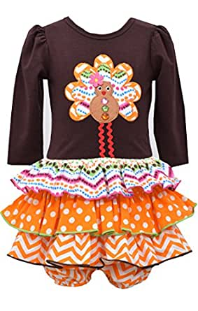 Bonnie Baby Newborn Girl Gingerbread Turkey Multi Tiered Skirt (0m-9m)