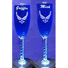 2 Engraved Air Force toasting Toasting Champagne Wedding Flutes glasses NEW!