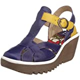 Fly London Women's Yike Wedge Sandal Purple/Yellow/Off White P500114009 6 UKby Fly London
