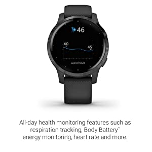 Garmin vívoactive 4S, Smaller-Sized GPS Smartwatch, Features Music, Body Energy Monitoring, Animated Workouts, Pulse Ox Sensors and More, Black (Color: Black, Tamaño: 40mm)