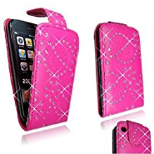FOR Apple Iphone 3 3g 3gs Pink Bling Diamond Leather Flip Open Case Cover Pouch