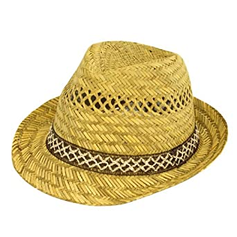 New Mens Ladies 100% Straw Fedoras Trilby Hats With Brown & White Band (58cm)