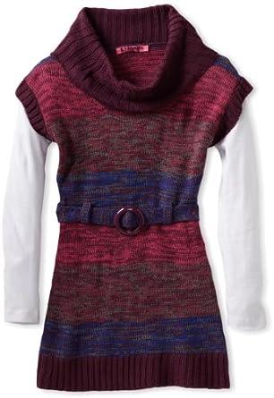 Energie Big Girls' Monique Cowl Neck Sweater, Grape Jam Combo, Medium