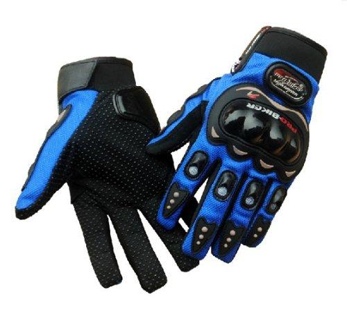 Carbon Fiber Pro-Biker Bicycle Motorcycle Motorbike Powersports Racing Gloves (L, Blue) image