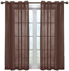Arm and Hammer Curtain Fresh Odor Neutralizing Sheer Voile Grommet Curtain Panel, 59 by 63-Inch, Expresso