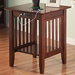 Atlantic Furniture AH10234 Mission Printer Stand With Charger44; Antique Walnut