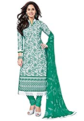 Salwar House White & Green Unstitched Cotton Embroidery Dress Material with Dupatta