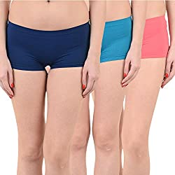 Mynte Women's Sports Shorts (MEWIWCMBP-SHR-105-104-102, Navy Blue, Blue, Pink, Free Size, Pack of 3)