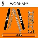 WORHAN® 530cm Ladder Foldable Telescopic Extendable 5.3m Multipurpose Aluminium L5