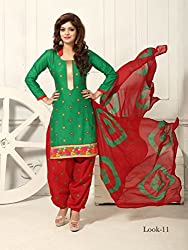 ARAJA NEW DESIGNER COLLECTION GOOD LOOKING GREEN&RED COLOR COTTON EMBROIDERED UNSTICHED FESTIVAL,MARRIAGE AND PARTY WEAR PATIYALA HAND EMBROIDERED DRESS MATERIAL