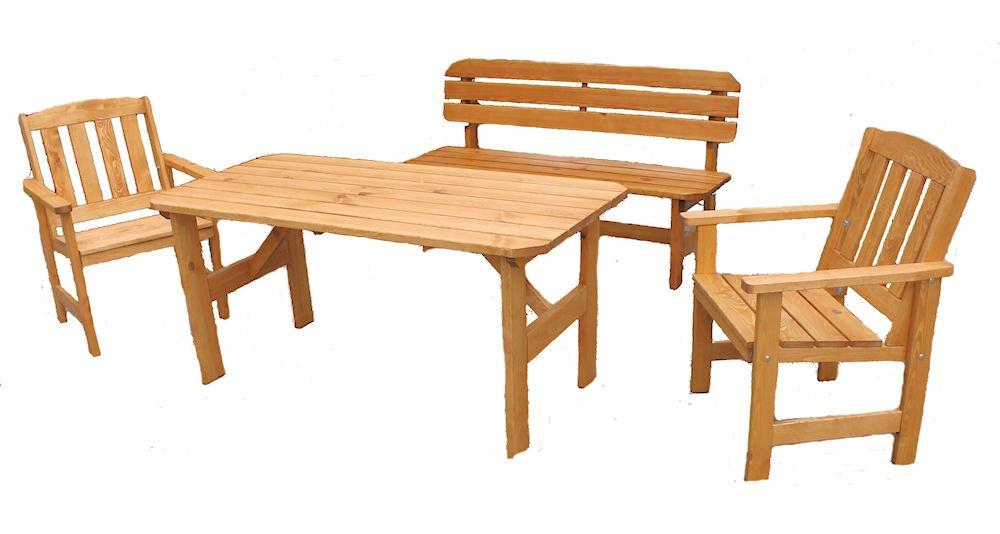 """Massivholz Garten Sitzgruppe """"ORB-2"""" , Kiefer , Holzfarbe Nuss , Holzdicke 32/28 mm , Gartenbank , 2 Sessel und Massivholztisch . günstig online kaufen"""