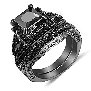 Big Cz Diamond Engagement Ring Set Luxury Women Wedding Band Sets (Black&US Size 7)