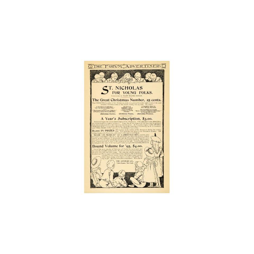 1895 Ad Century Christmas Bound Volume Story Poem Book   Original Print Ad