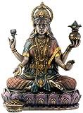 Bronze Hindu Goddess Lakshmi On Lotus Hinduism Display Statue