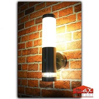 Außen Lampe Edelstahl Balkon Beleuchtung Glas Wand Leuchte G9 Sockel IP44 1-flg