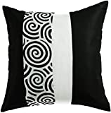 Avarada Striped Spiral Throw Pillow Cover Decorative Sofa Couch Cushion Cover Zippered 16x16 Inch (40x40 cm) Black White