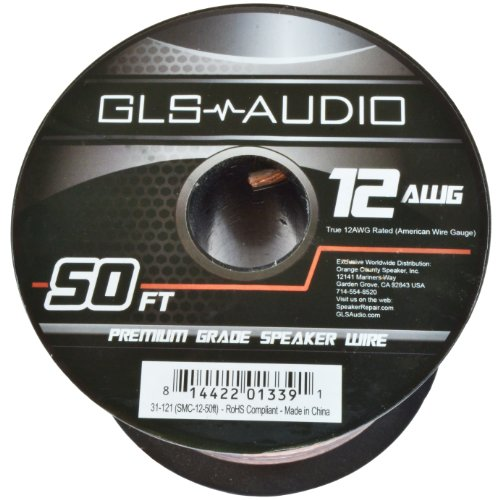Gls Audio Premium 12 Gauge 50 Feet Speaker Wire - True 12Awg Speaker Cable 50Ft Clear Jacket - High Quality 50' Spool Roll 12G 12/2 Bulk