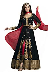 Siya Fashion women's Georgette Party Wear Unstitched Dress Material(si1574_ Black color)