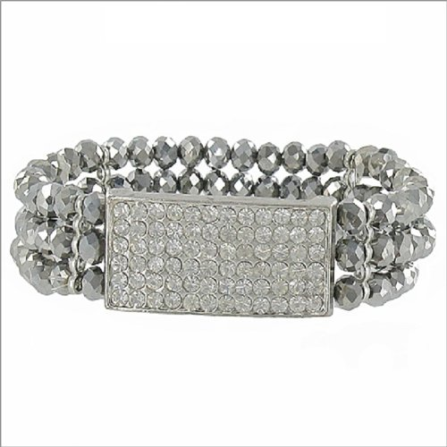Three Line Crystal Bead Stretch Bracelet #041220
