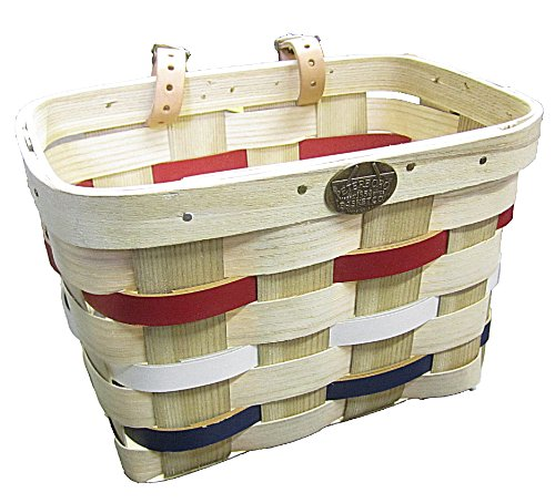 Peterboro Red/White/Blue Bike Basket , made from White Ash wood - made in USA - Hardwood Basket , genuine leather starps , brass medallion