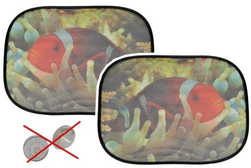 2 tlg. Set Sonnenschutz Fisch - hällt OHNE Saugnapf - für Seitenscheibe Sonnenblende für Kinder Auto Baby Seitenfenster Clownfisch