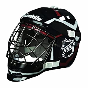 NHL SX GFM 100 Goalie Face Mask: Black Silver Red by Franklin