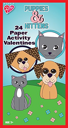 Paper Magic 24CT Studio 2/14 Puppies and Kittens Paper Activity Kids Classroom Valentine Exchange Cards