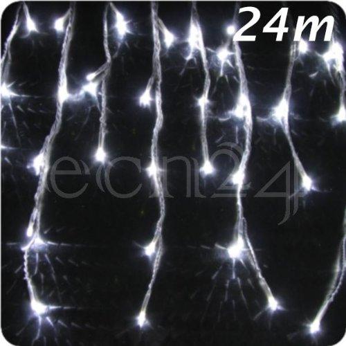 LED Eiszapfen Lichterkette 24m Schneefalleffekt kaltweiss