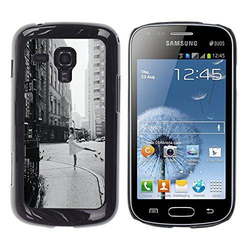 WonderWall Carta Da Parati Immagine Custodia Rigida Protezione Cover Case Per Samsung Galaxy S Duos S7562 - strada ballerina annata nero ballo bianco