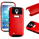 """myLife (TM) Red and Black - Classic Tough Design (2 Piece Hybrid Bumper) Hard and Soft Case for the Samsung Galaxy S4 """"Fits Models: I9500, I9505, SPH-L720, Galaxy S IV, SGH-I337, SCH-I545, SGH-M919, SCH-R970 and Galaxy S4 LTE-A Touch Phone"""" (Fitted Back Solid Cover Case + Internal Silicone Gel Rubberized Tough Armor Skin)"""
