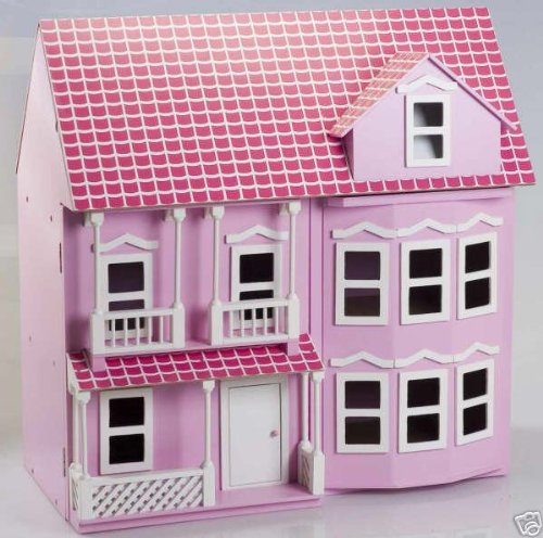 MamaKiddies Victorian Pink Wooden Dolls House with complete furniture and 4 dolls