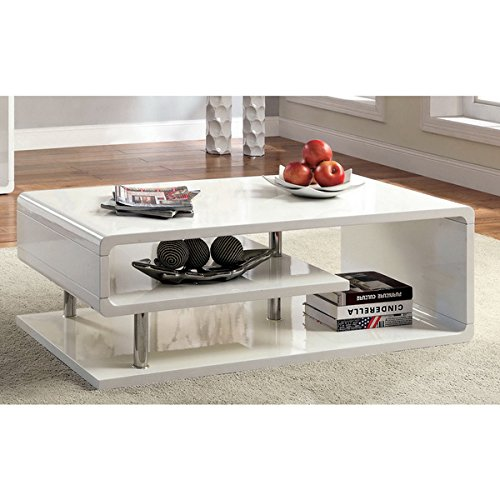 16 Inches High X 47.25 Inches Wide X 23.5 Inches Deep White Coffee Table with Durable Chrome Pole Supports and High Gloss Lacquer Coating