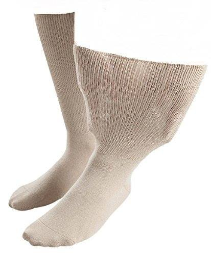 Iomi Footnurse - Mens & Ladies Unisex Extra Wide Edema Socks (10-12 US, Beige)
