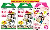 Fujifilm Instax Mini Film 5 Pack Candy Pop BUNDLE, 2 Instax Mini TWIN 10 Sheets x 2 packs + Instax mini Candy Pop - Total 50 Sheets