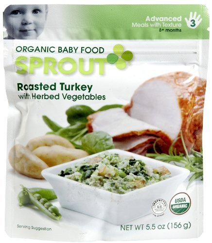 Sprout Organic Baby Food: 3 Advanced: Meals with Texture, Roasted Turkey with Herbed Vegetables 5.5 Oz Pouch