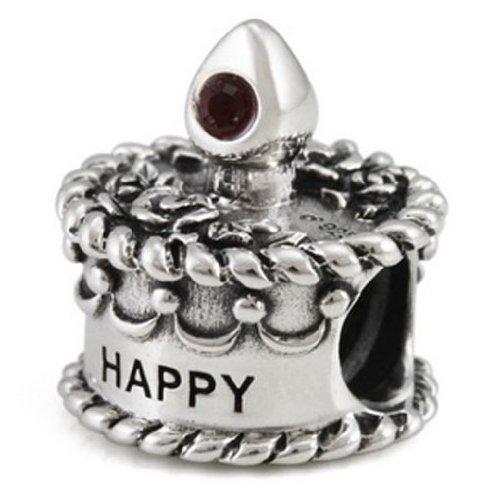 Ohm Silver CZ January Happy Birthday Cake Bead Charm
