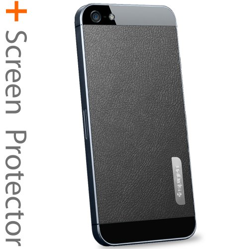 Great Sale SPIGEN SGP iPhone 5 Skin Decal Steinheil [Skin Guard] [Leather Black] Sticker Protector Anti Fingerprint Matte [2-PACK] + Clear Front and Back Protector Steinheil + Metal Sticker for the NEW iPhone 5S and iPhone 5 - Leather Black