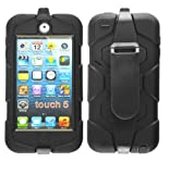 Magic Global Gadgets - New Black Heavy Duty Builders Armour Triple Defender Tough Survivor Military Shockproof Hard Case Cover For Apple iPod Touch 5 5th Gen Generation With Belt Clip & Built in Screen Guard