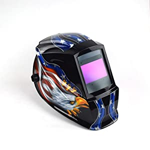LYY Welding Helmet with 3 Sensors, Adjustable Solar Speed Automatic Dimming Mask, Wide Shade Range 4/9-13, Radiation Protection, High Temperature Resistance, Impact Resistance