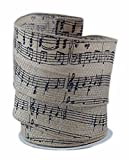 Music Note Burlap Wired Ribbon #40 - 2.5in x 10 yards